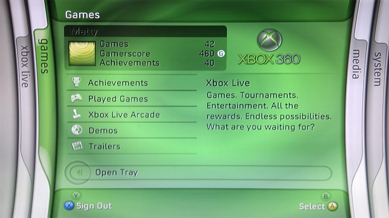 Xbox 360 Blade dashboard
