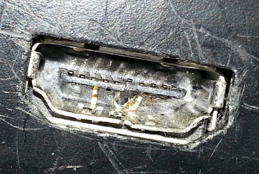 Example of a damaged HDMI socket